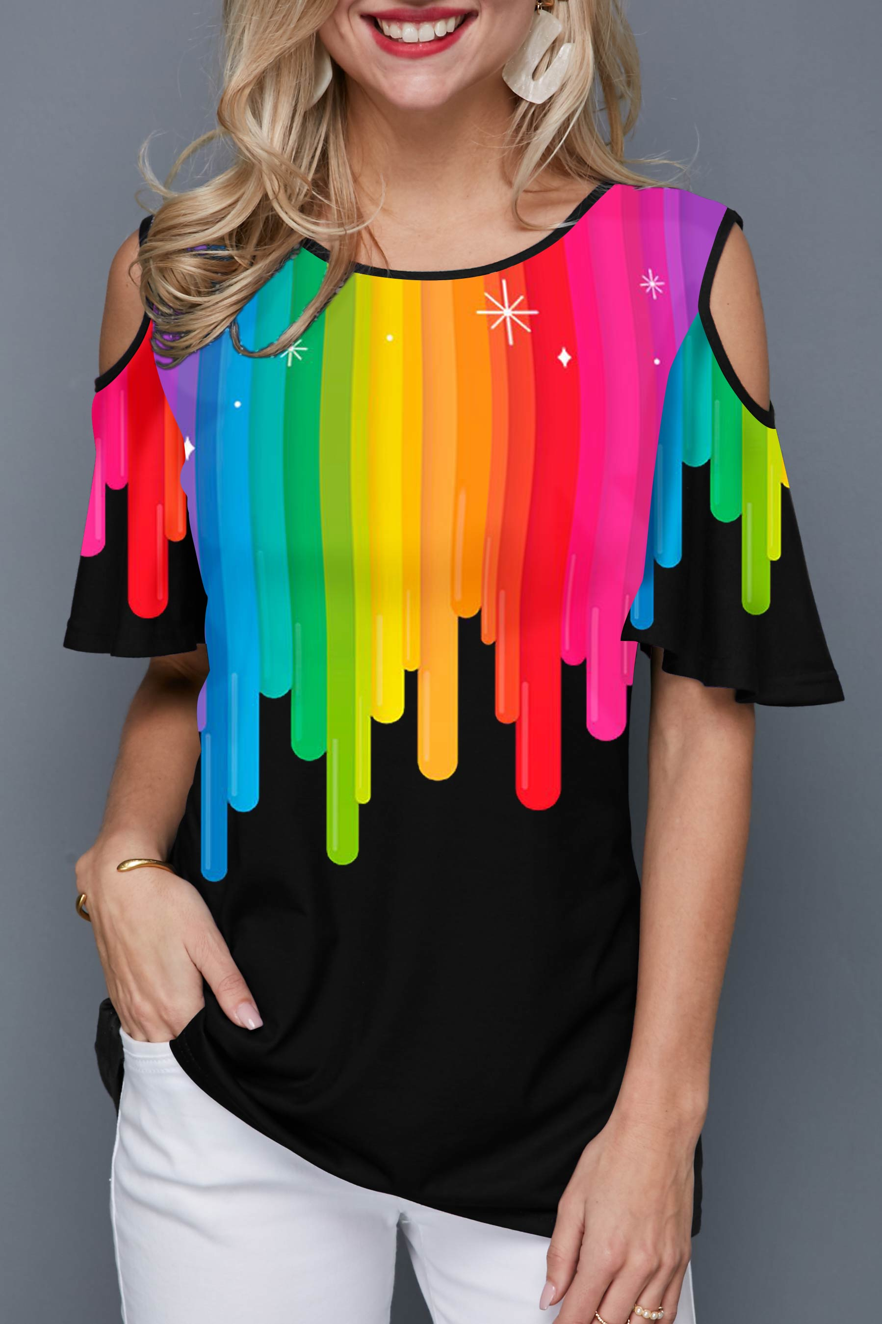 ROTITA Rainbow Print Cold Shoulder Black T Shirt