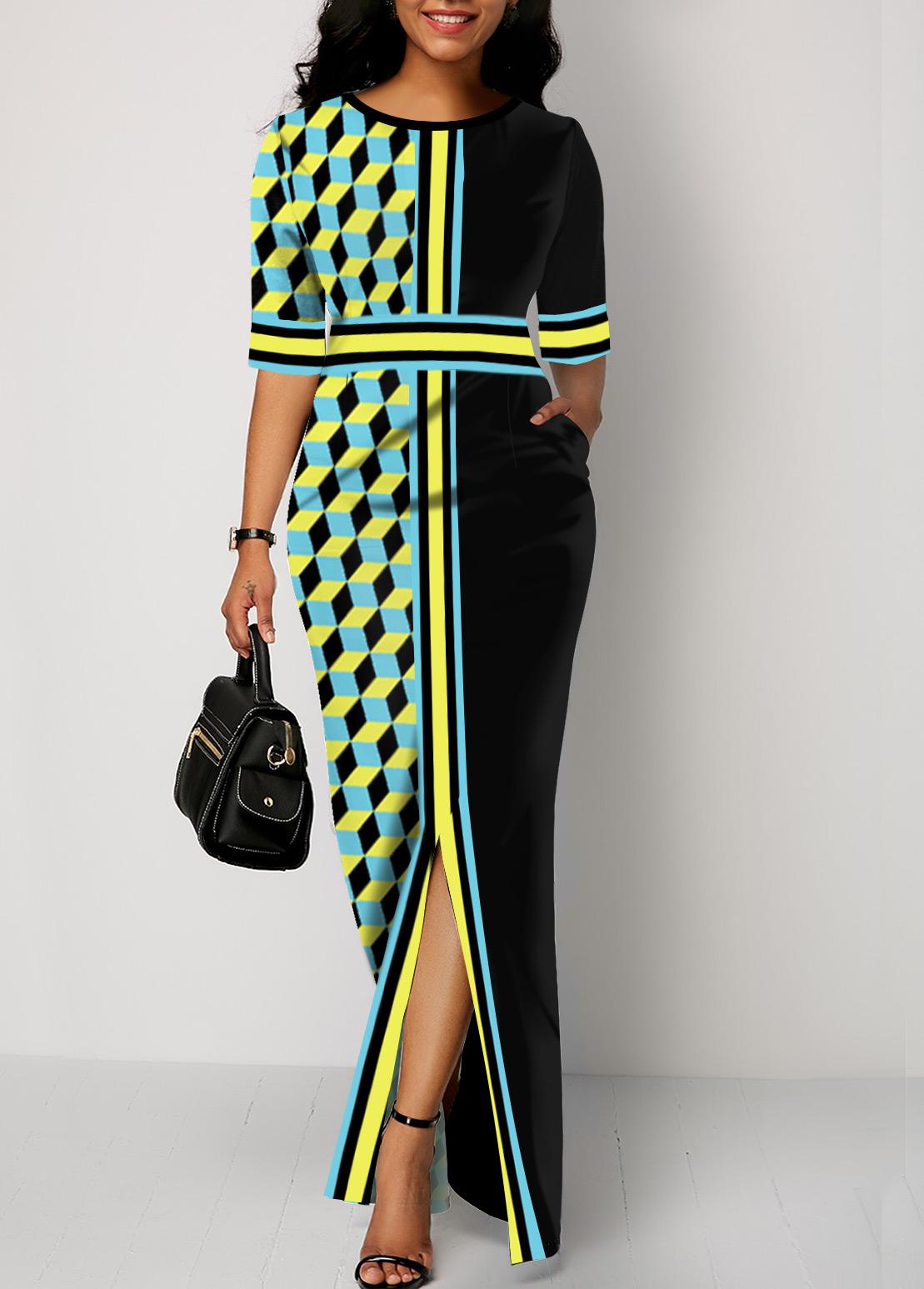 Ruffle Hem Plaid Print Half Sleeve Maxi Dress