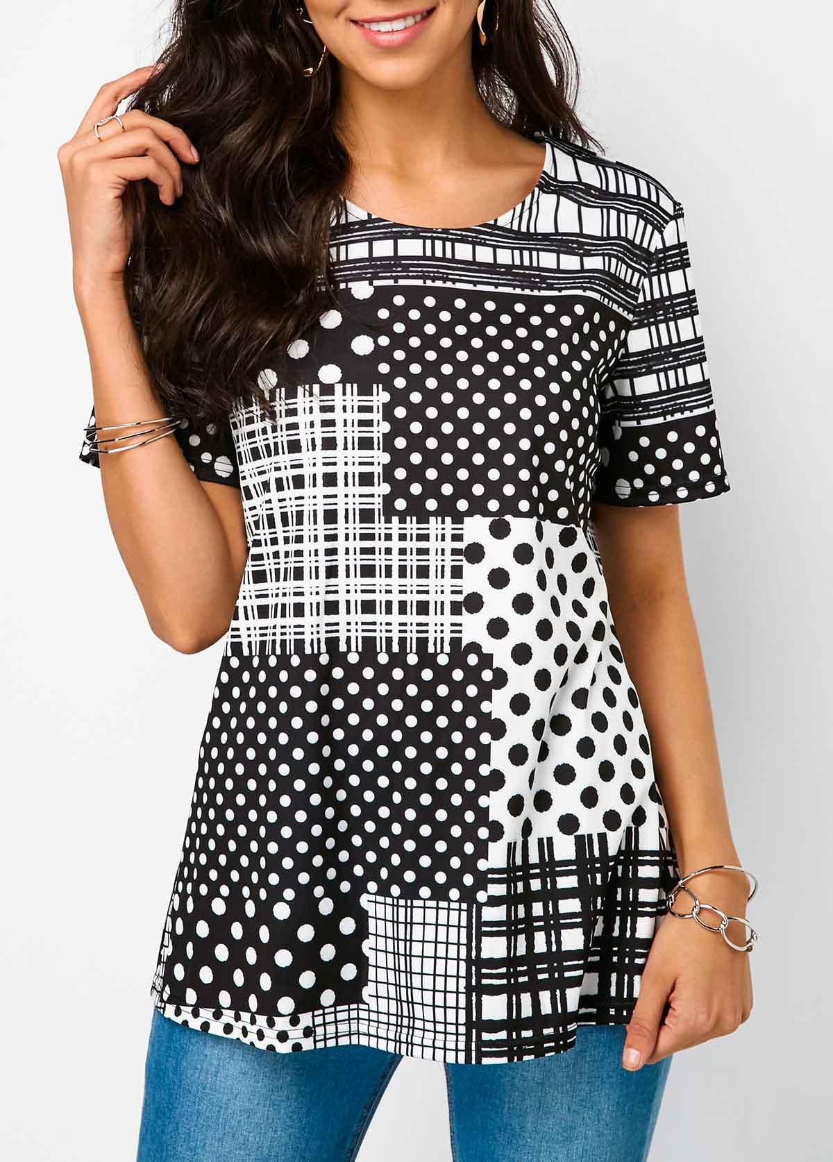 Polka Dot Print Round Neck Plaid Detail T Shirt