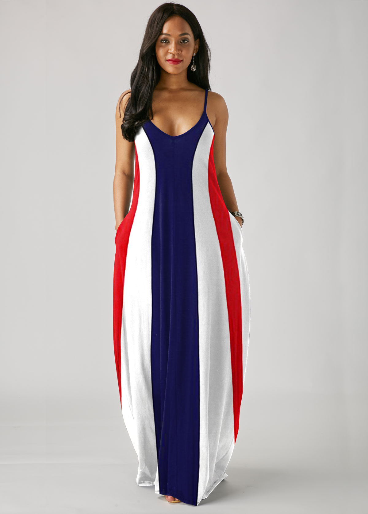 Spaghetti Strap Printed Color Block Maxi Dress
