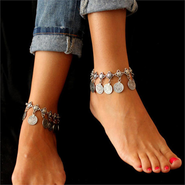 Tribal Design Exotic Metal Silver Anklet