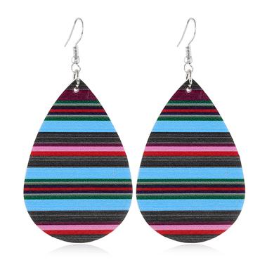 Stripe Print Multi Color Drop Shape Earrings