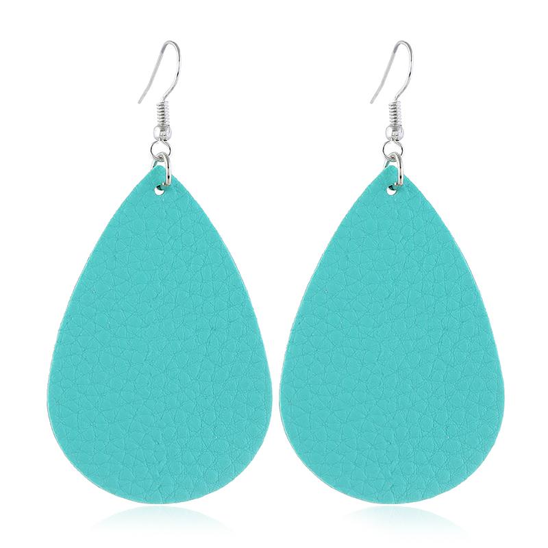 Teardrop Shaped Sky Blue Drop Earrings Set