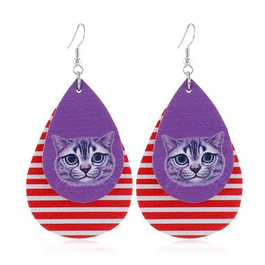 Striped Animal Print Cute Earring Set