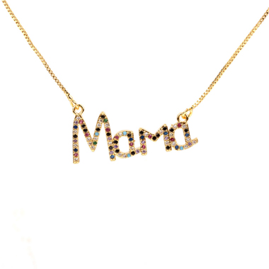 Letter Shape Rhinestone Detail Gold Brown Necklace