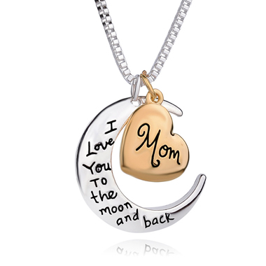 Letter Print Moon and Heart Shape Necklace