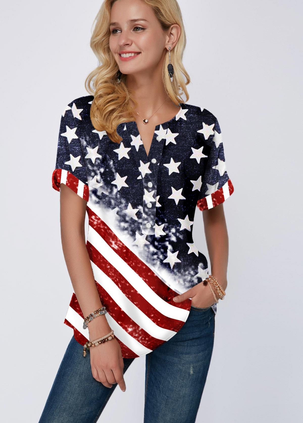 Short Sleeve Split Neck American Flag Print Blouse