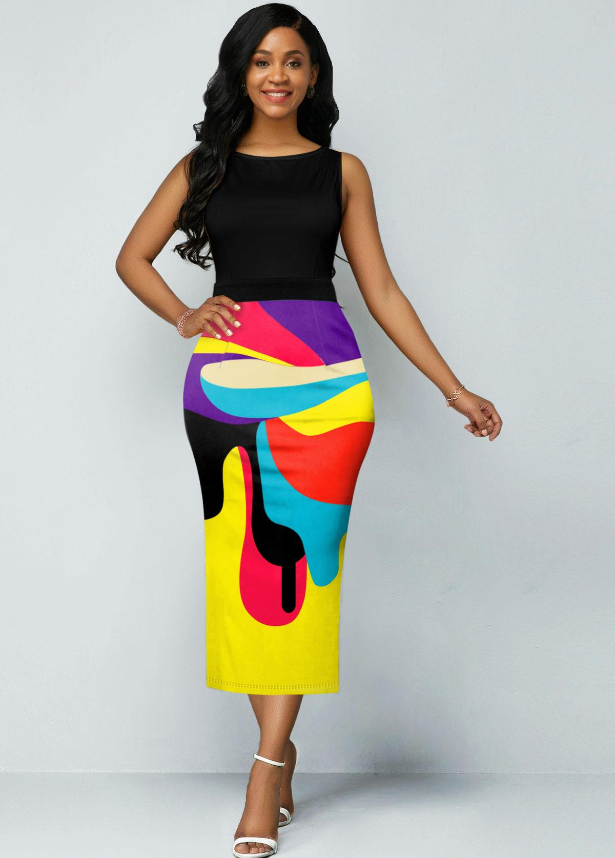 ROTITA Geometric Print Rainbow Color Sleeveless Dress
