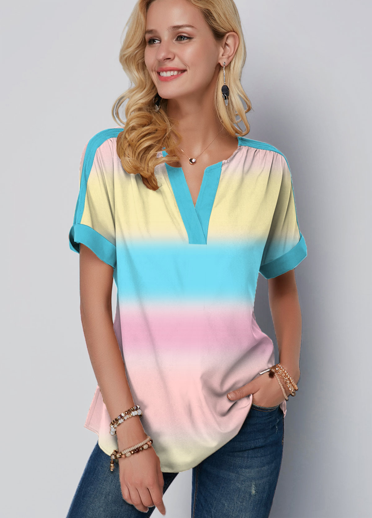Rainbow Striped Gradient Split Neck Tie Dye Blouse