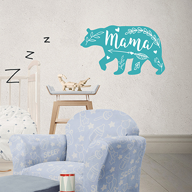 Blue Bear and Letter Print 1sheet Wall Stick