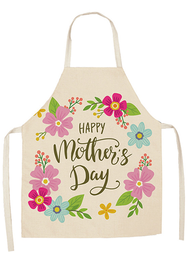 Letter Detail Flower Print Multi Color Apron