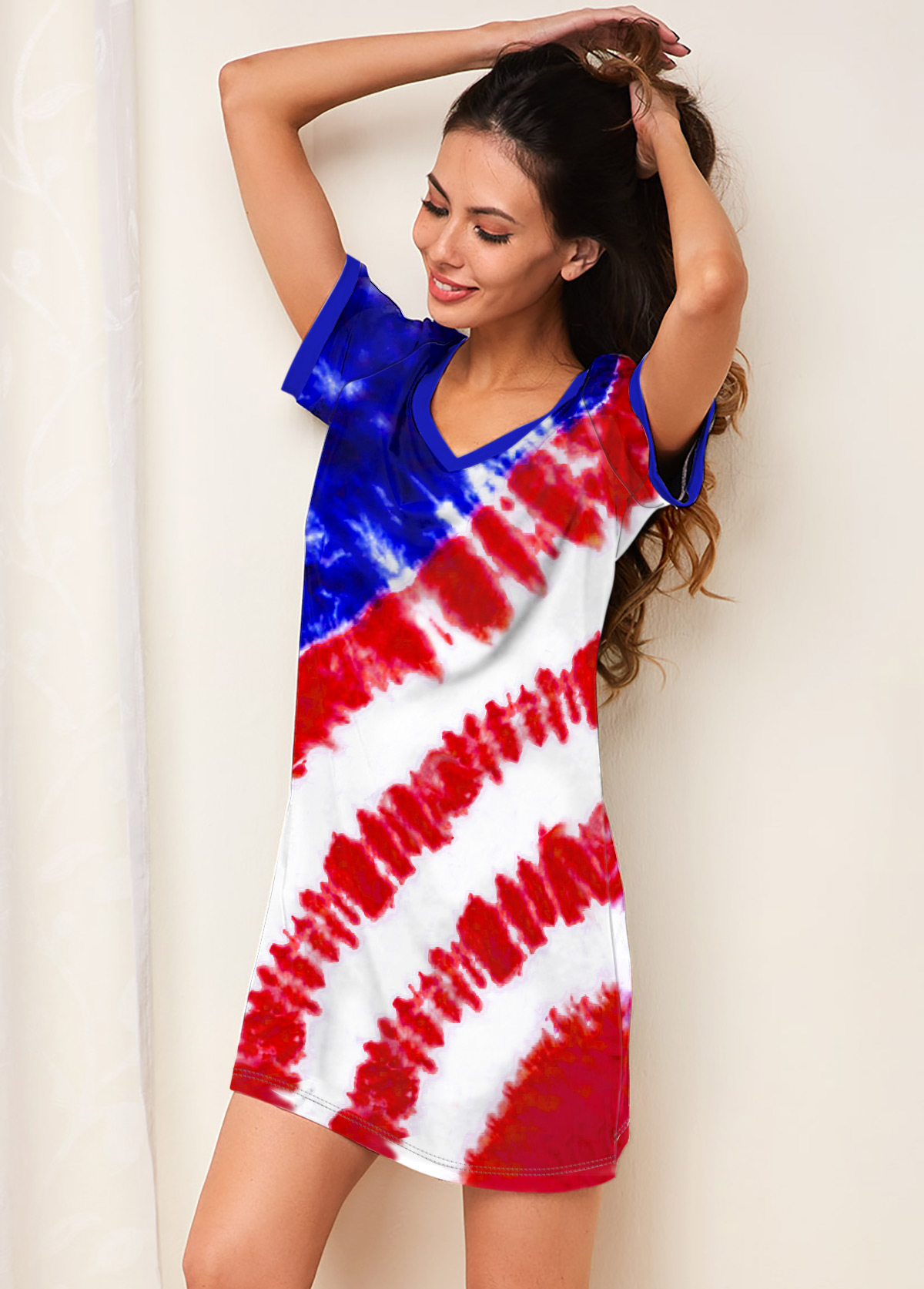 ROTITA American Flag Print Short Sleeve Flag Print Nightdress