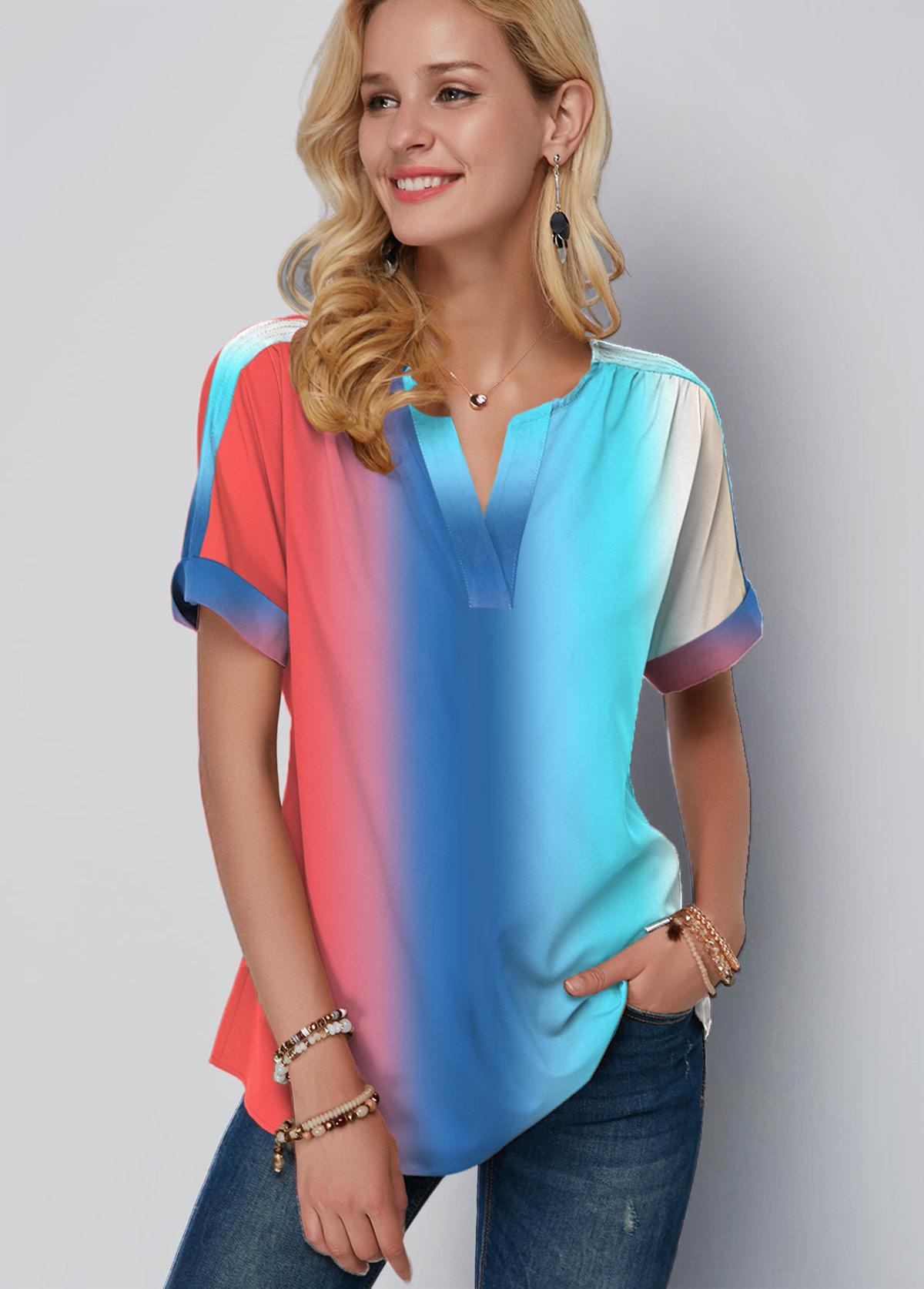 Split Neck Gradient Short Sleeve Printed Blouse
