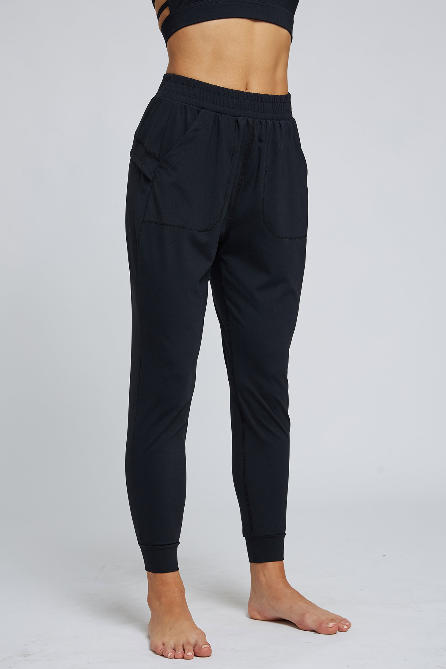 Black Shirred Waist Pocket Detail Sports Pants