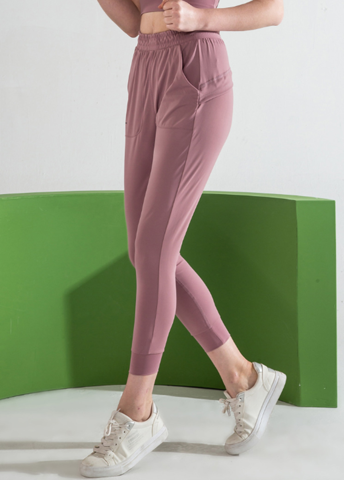 Light Purple Shirred Waist Sports Pants