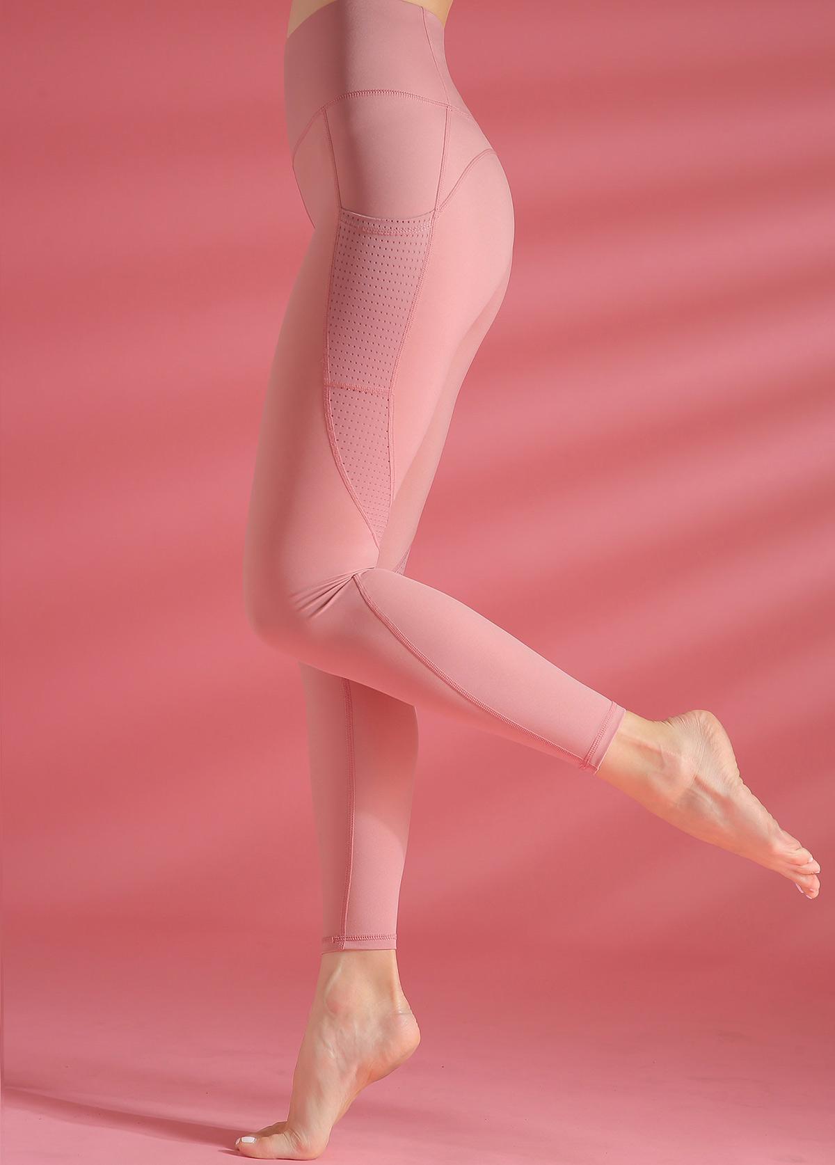 High Waist Peach Pink Yoga Leggings