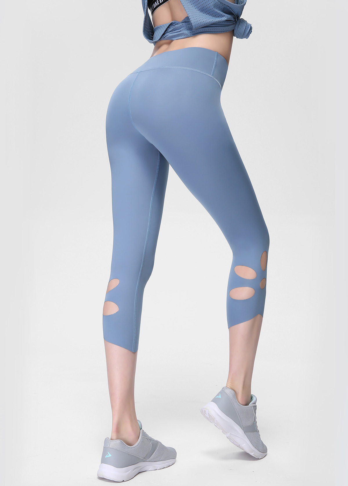 Blue High Waist Keyhole Detail Yoga Leggings