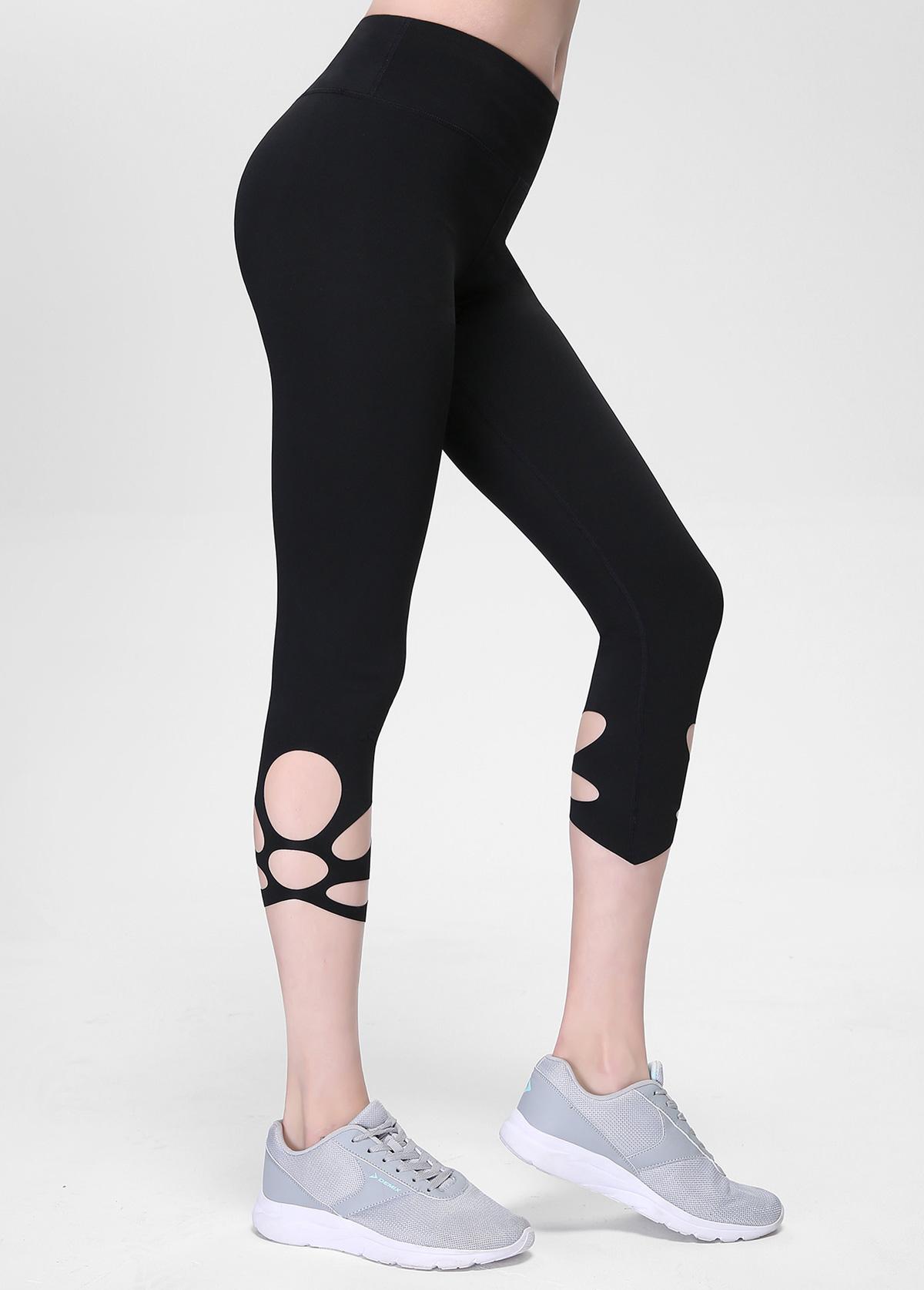 Black High Waist Keyhole Detail Yoga Leggings