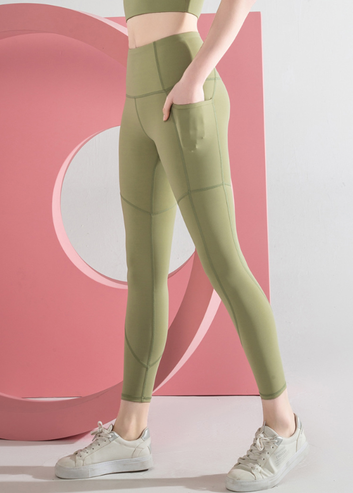 Side Pocket Green High Waist Yoga Leggings With Pockets