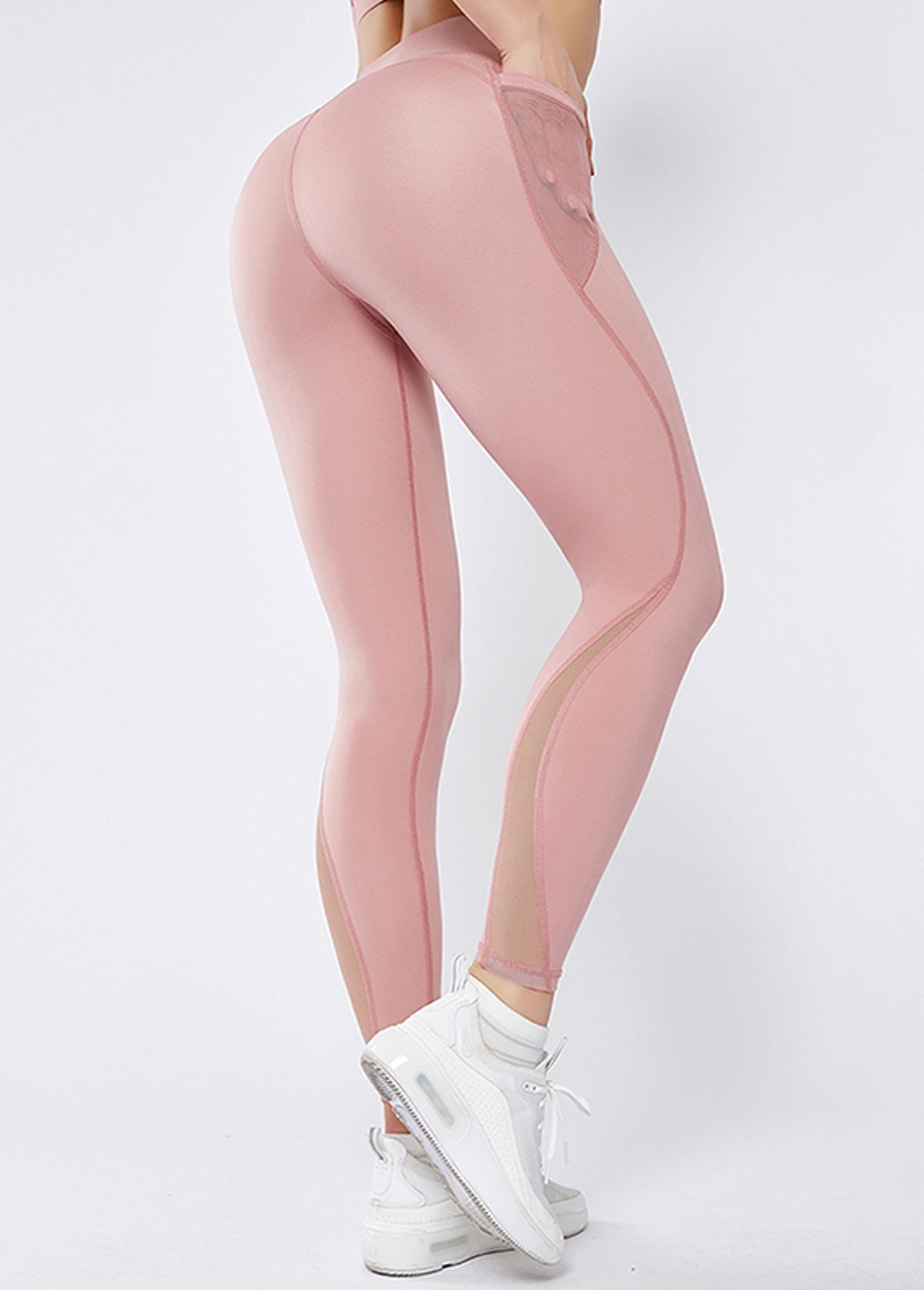 Pink Mesh Panel High Waist Elastic Yoga Leggings With Pockets