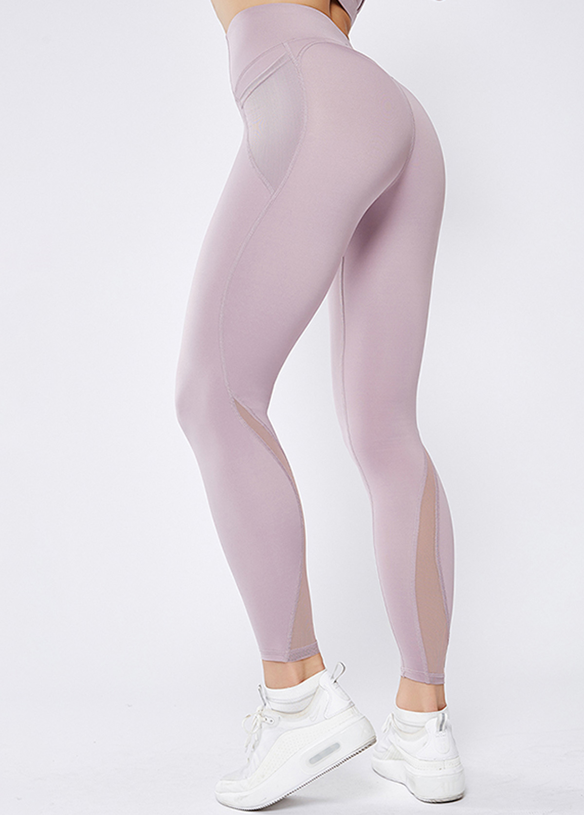 Light Purple Mesh Panel High Waist Elastic Yoga Leggings With Pockets