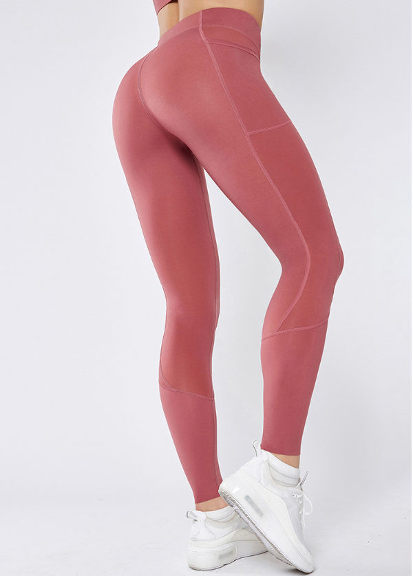 Wide Band Waist Pink Yoga Leggings With Pockets