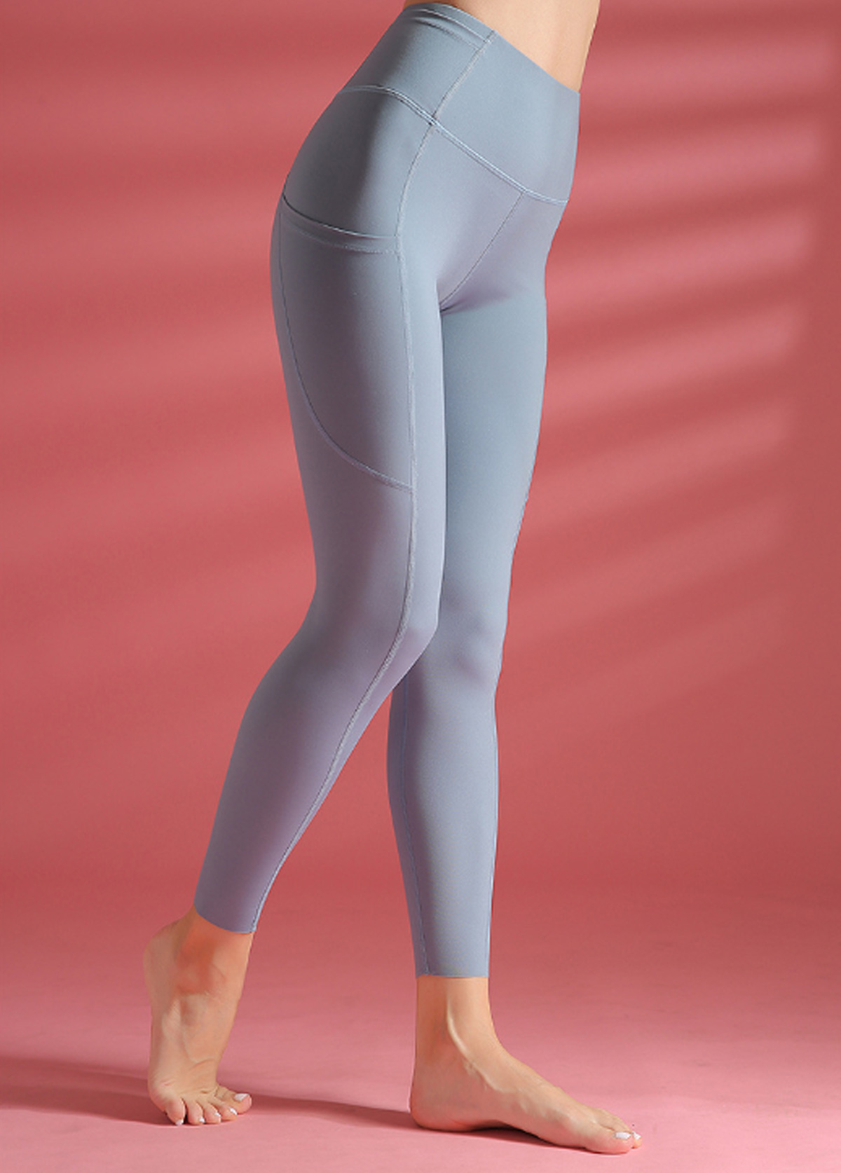 Wide Band Waist Dusty Blue Yoga Leggings With Pockets