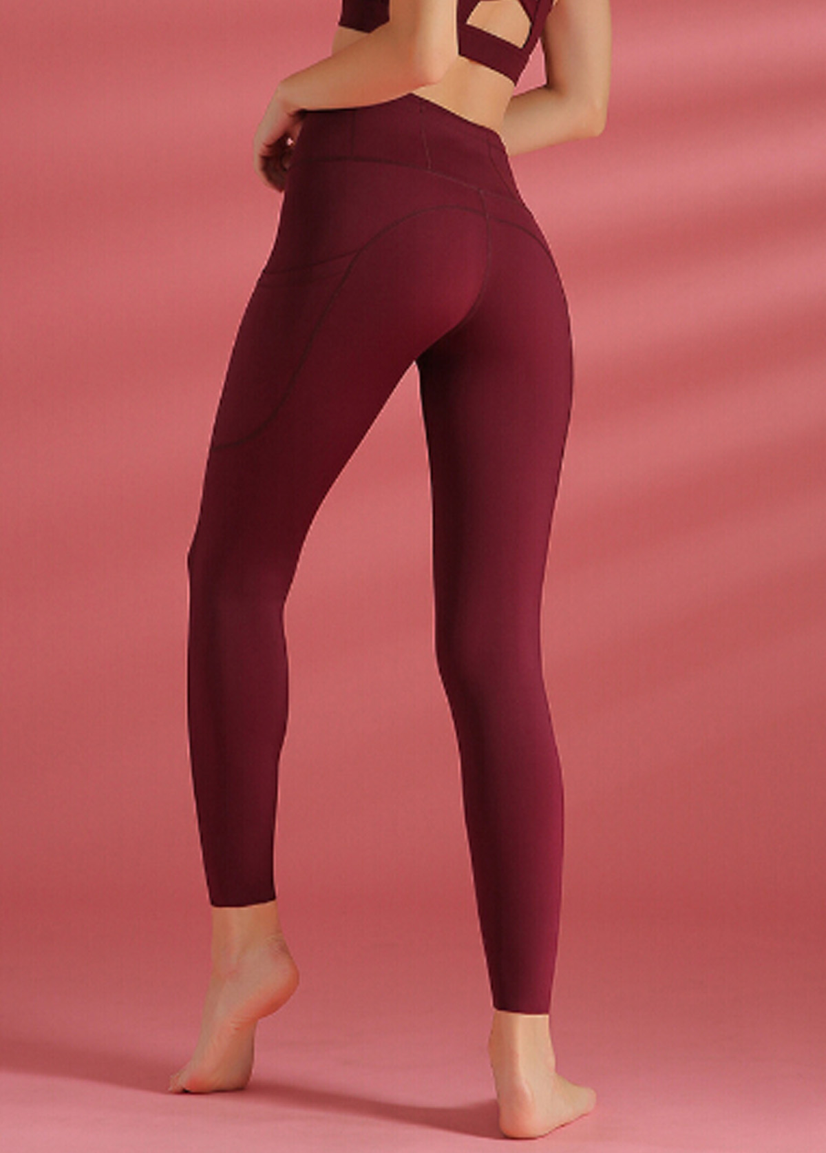 Wide Band Waist Wine Red Yoga Leggings With Pockets