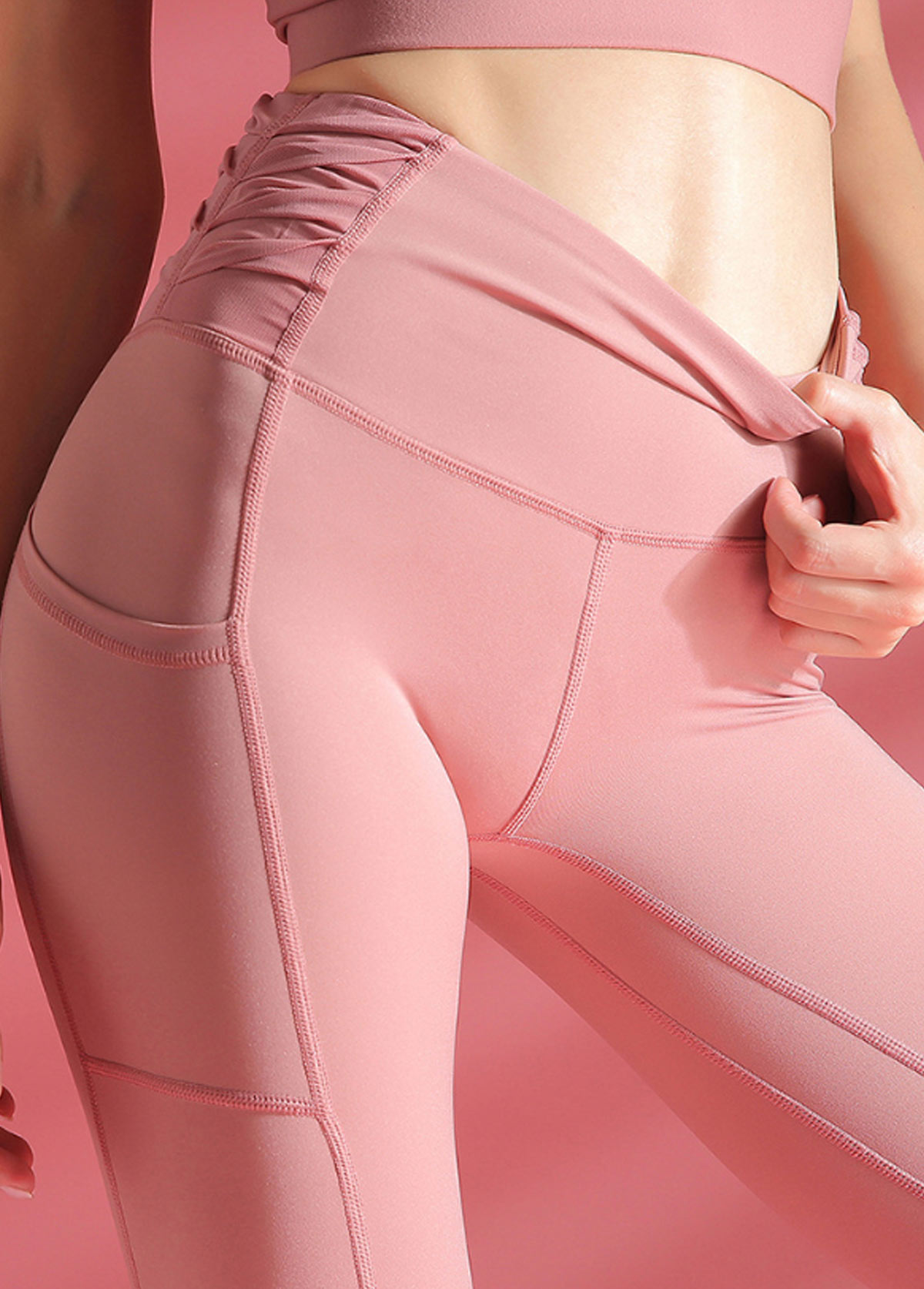 Ruched Side High Waist Pink Yoga Leggings With Pockets