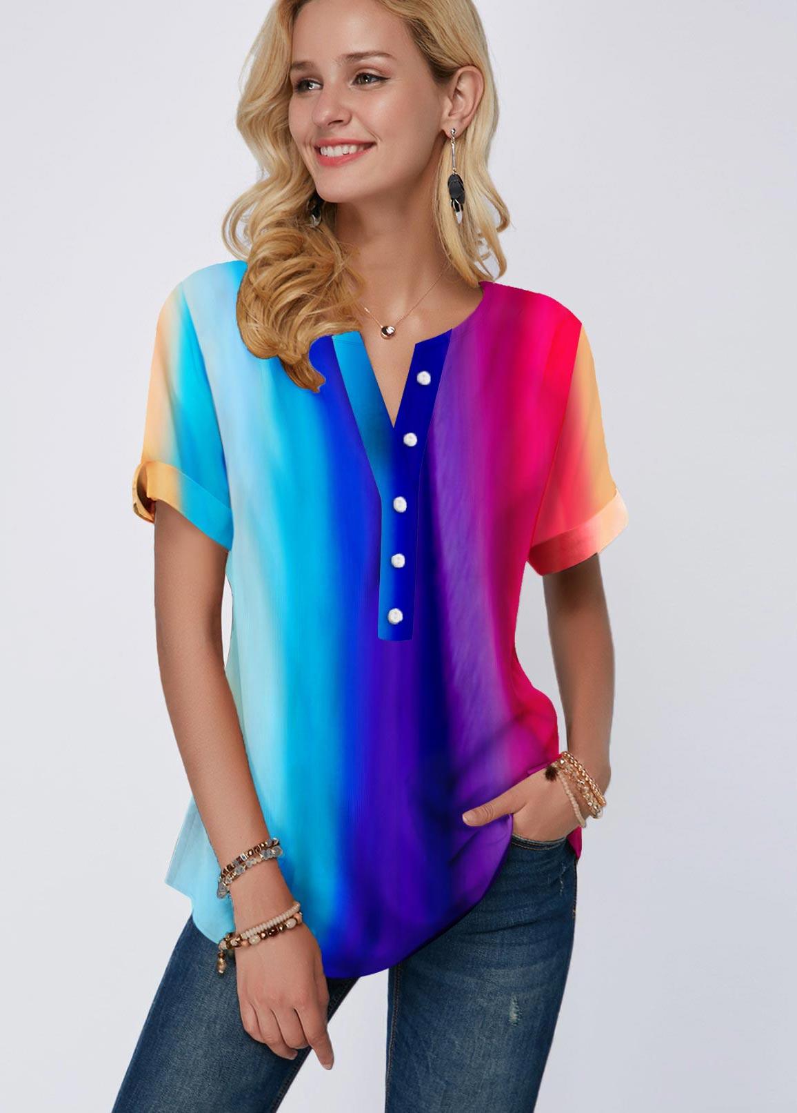 ROTITA Short Sleeve Rainbow Color Button Detail Blouse