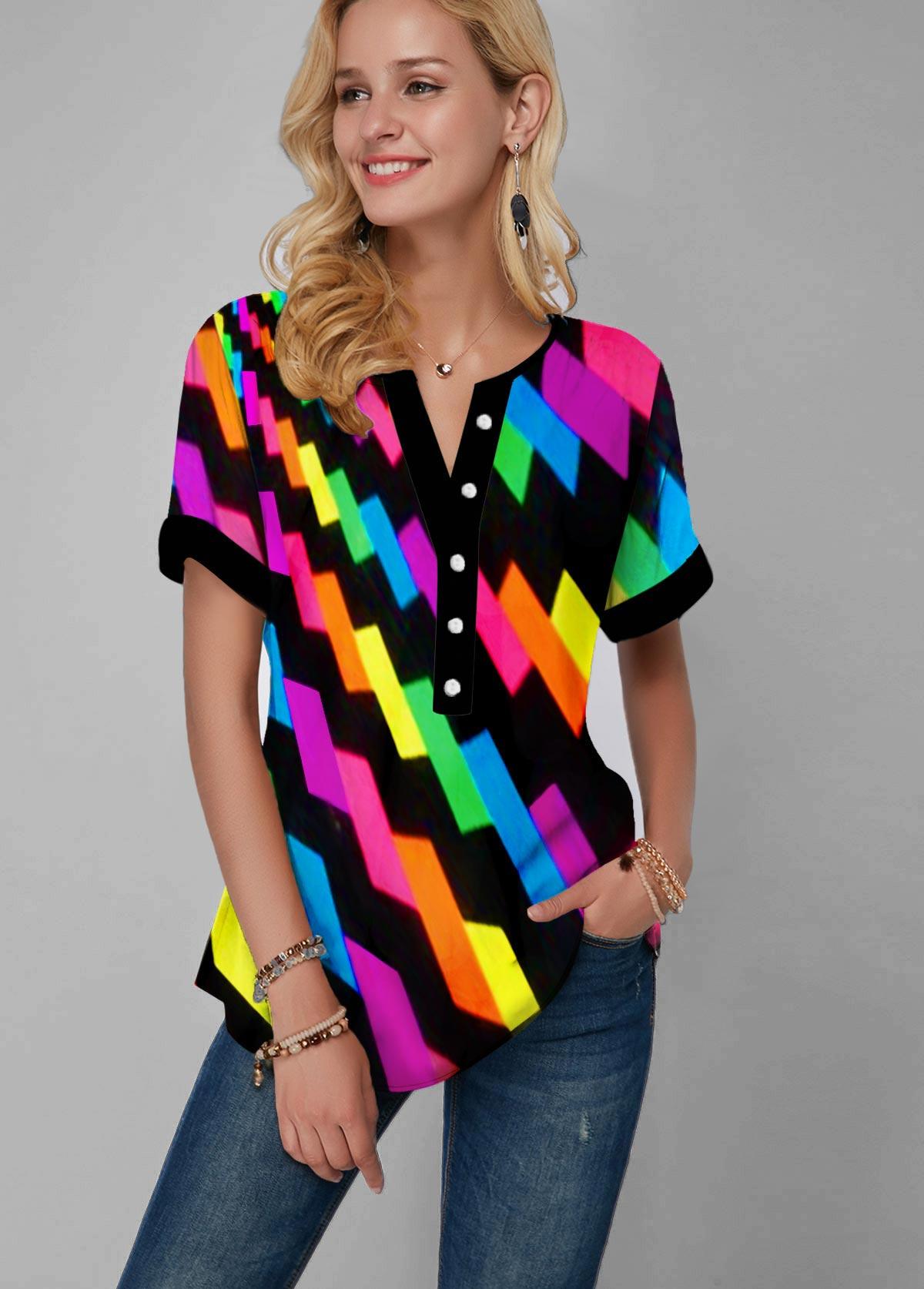 ROTITA Rainbow Color Geometric Print Gradient Split Neck Blouse