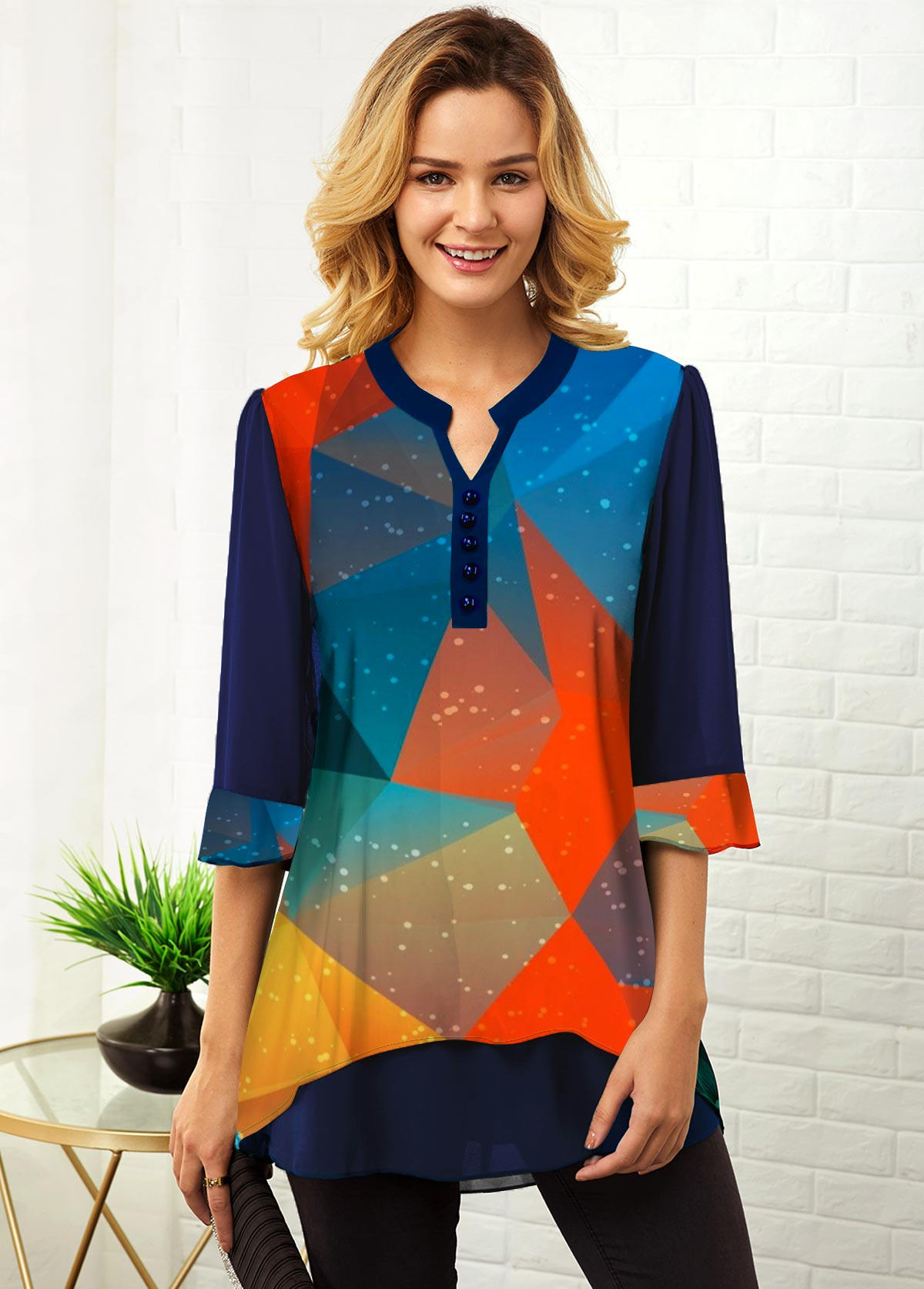 ROTITA Three Quarter Sleeve Geometric Print Multi Color Blouse
