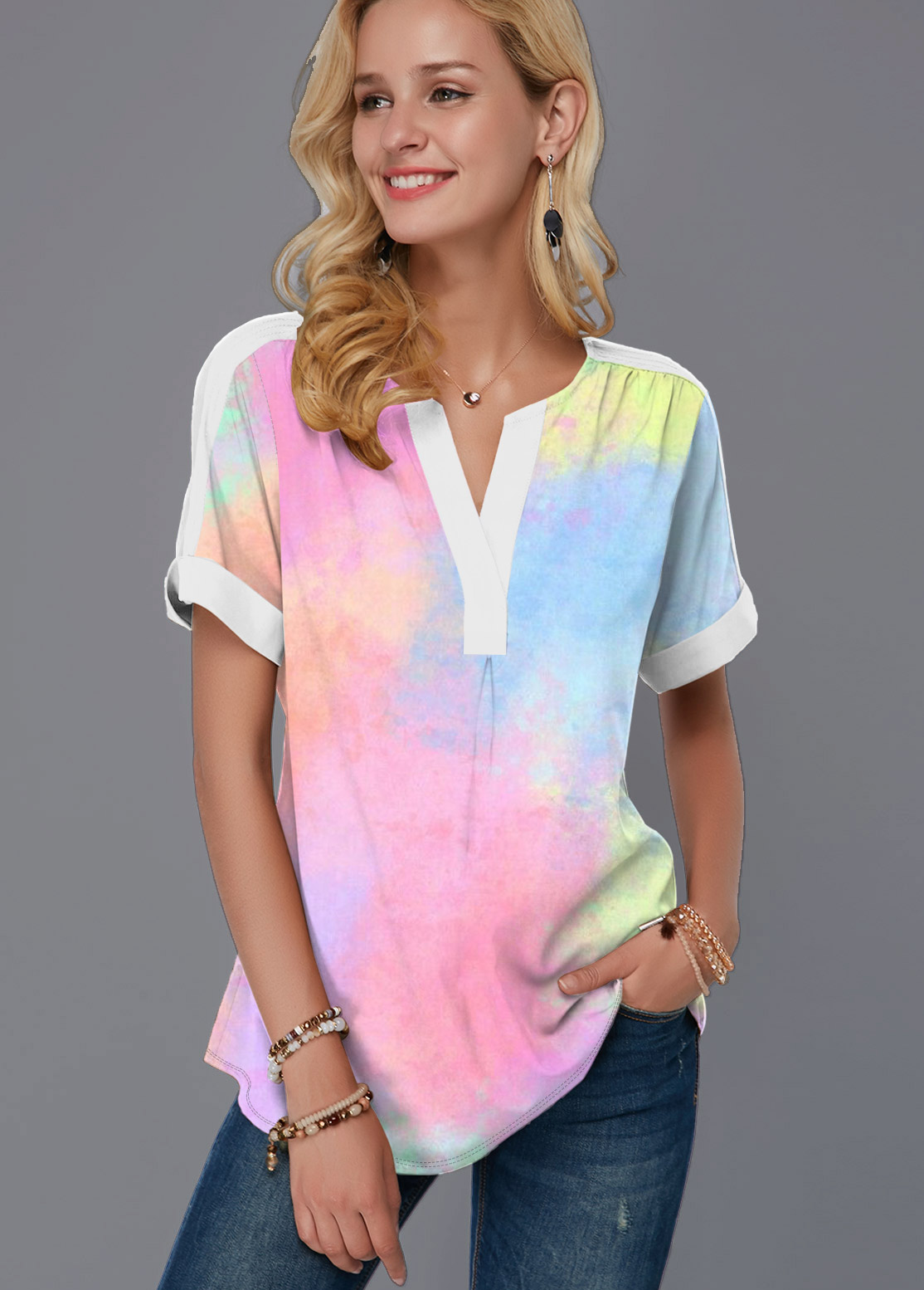 ROTITA Short Sleeve Multi Color Split Neck Blouse