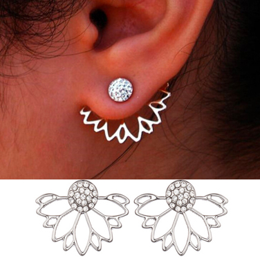 Rhinestone Lotus Shape Earrings for Lady