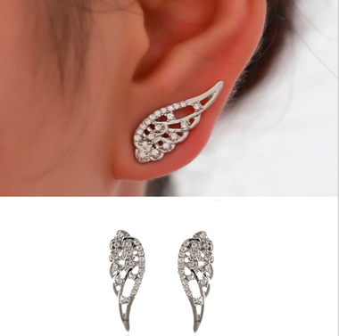 Silver Angle Swings Rhinestone Earrings