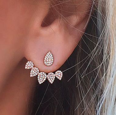 Rhinestone Water Drops Shape Gold Earrings