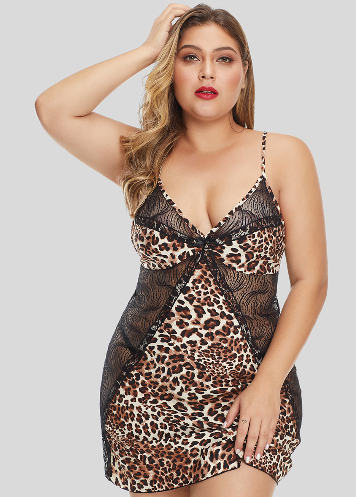V Neck Plus Size Spaghetti Strap Camisole Top and Panty