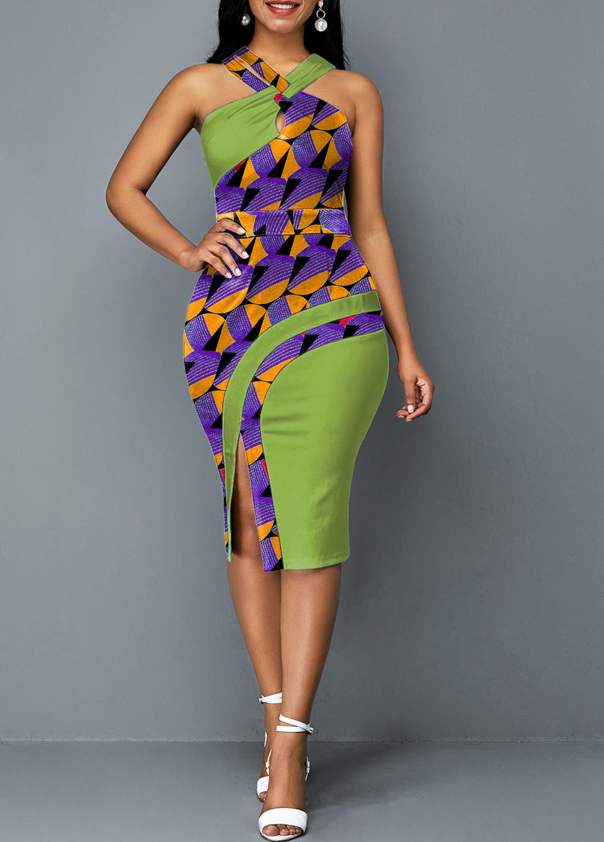 ROTITA Green Printed Cross Halter Side Slit Dress