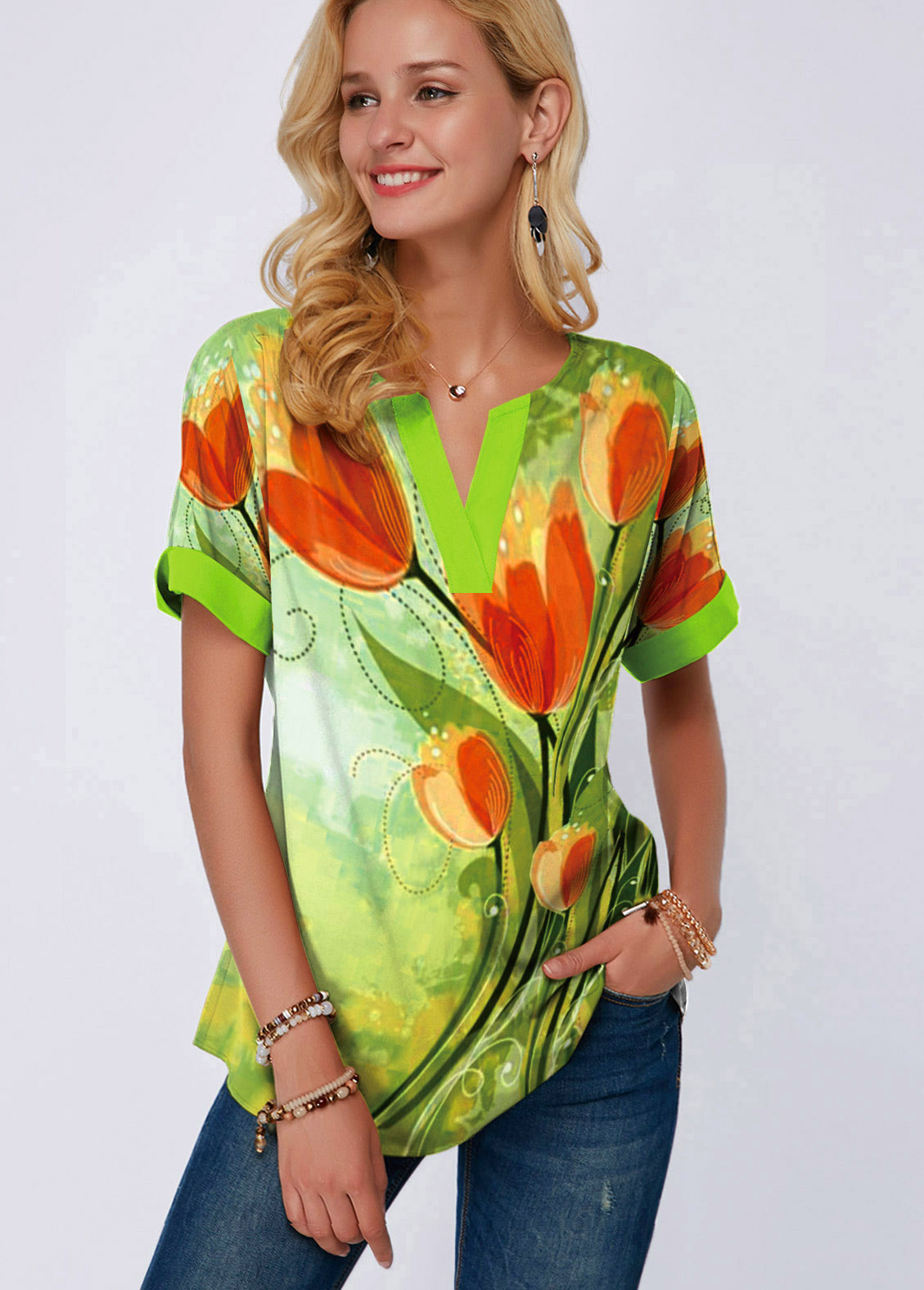 Short Sleeve Flower Print Split Neck Blouse