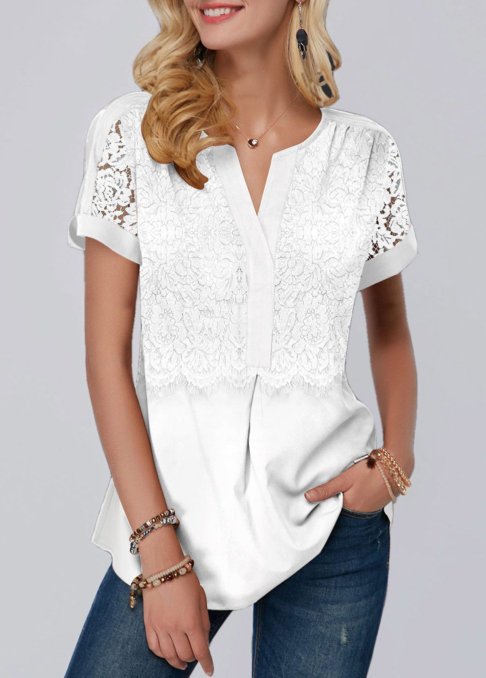 ROTITA White Lace Panel Short Sleeve Blouse