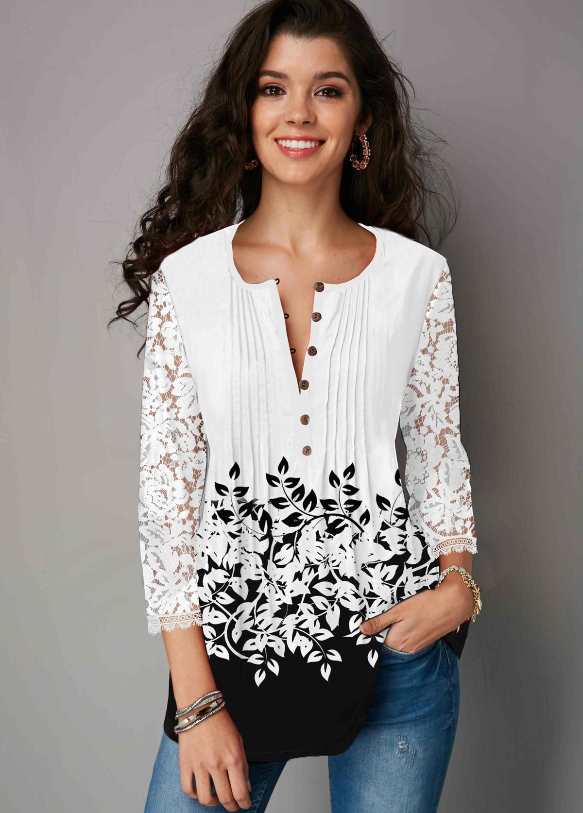 Button Up Color Block Lace Panel Three Quarter Sleeve Blouse