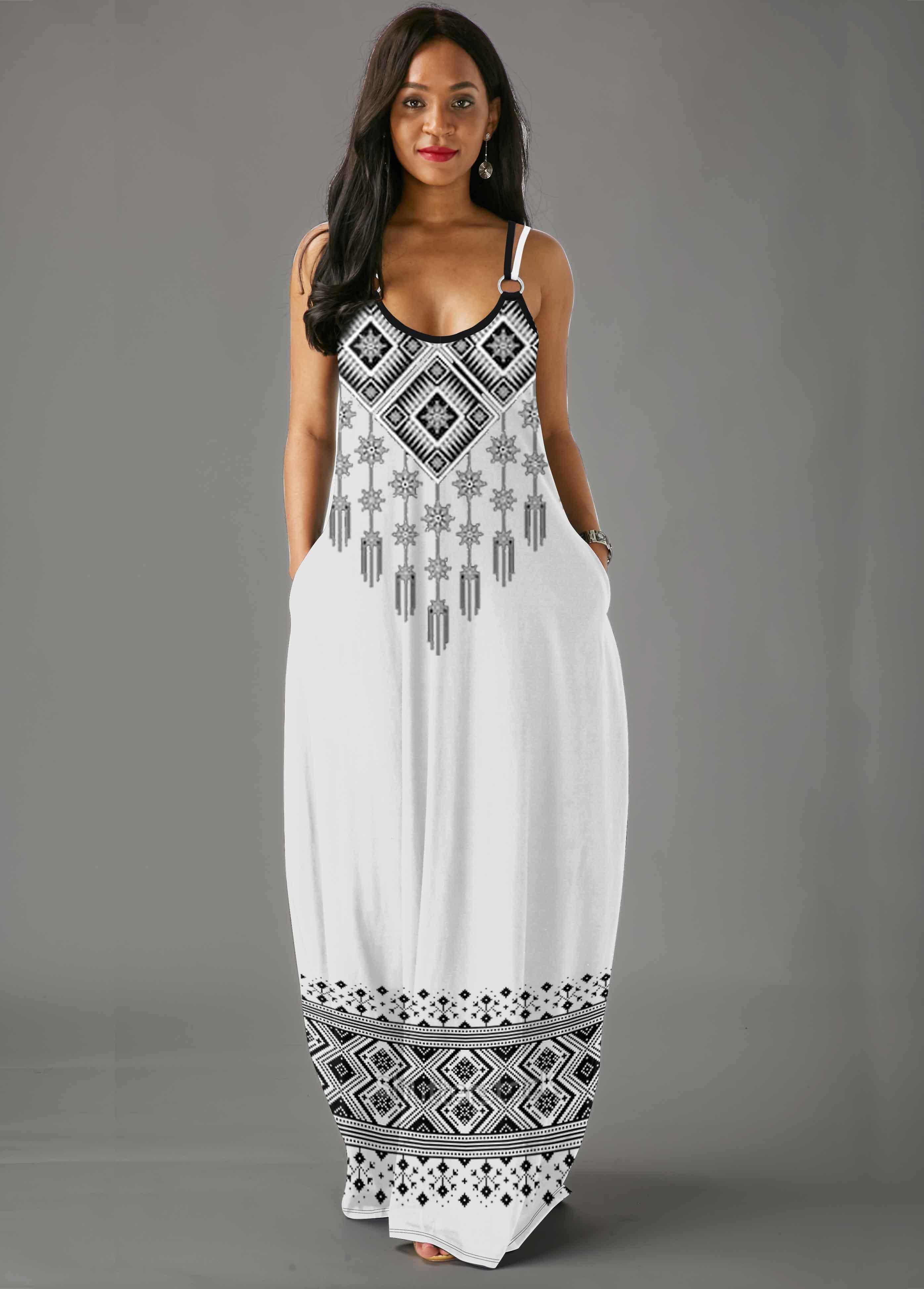 ROTITA Tribal Print Sleeveless White Straps Maxi Dress