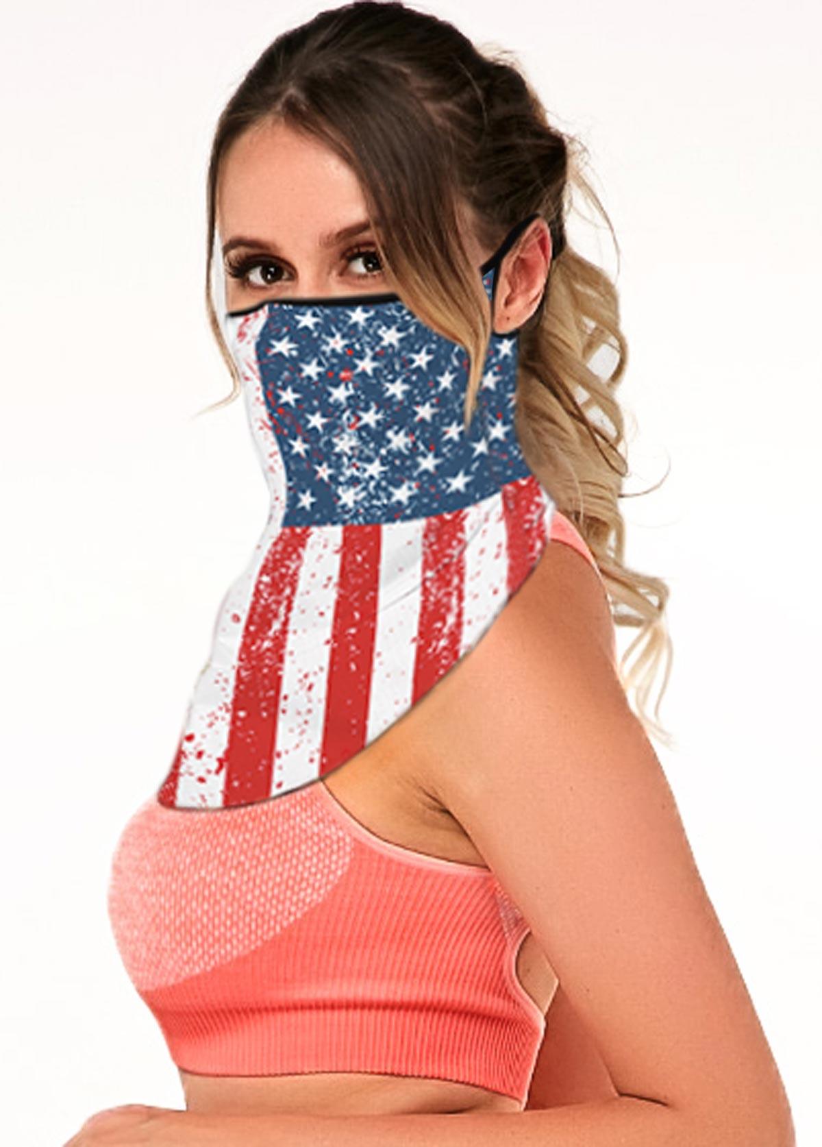 Multi Color American Flag Print Ear Loops Bandana