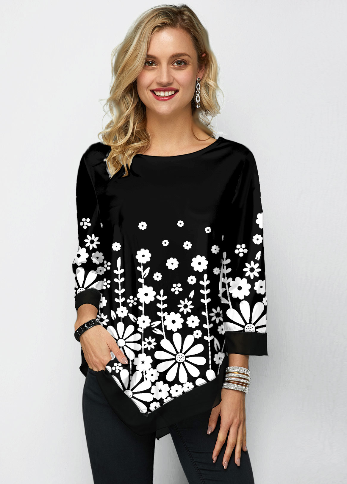 Three Quarter Sleeve Chiffon Panel Printed T Shirt
