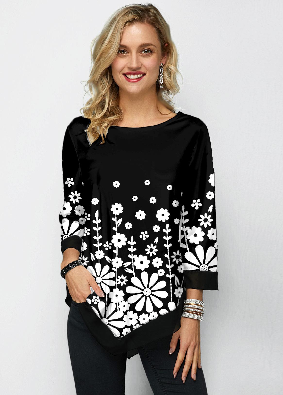 ROTITA Three Quarter Sleeve Chiffon Panel Printed T Shirt