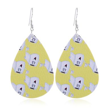 Yellow Printed Drop Shape Earrings