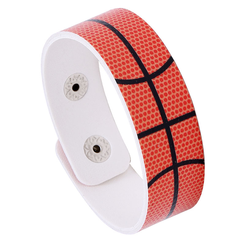 Sport Faux Leather Buckle Orange Bracelet