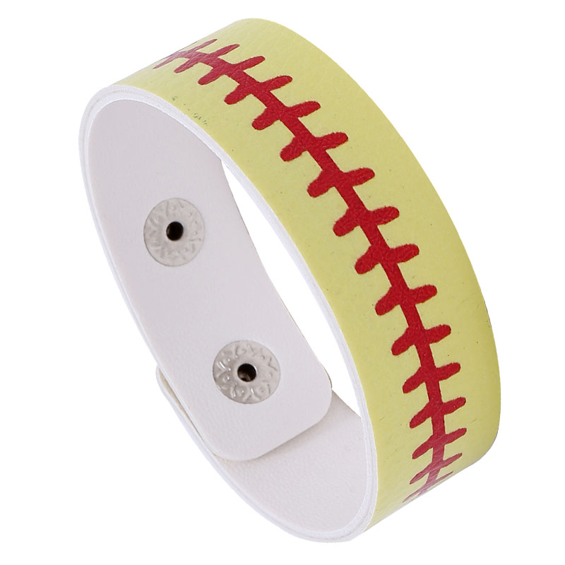 Sport Faux Leather Buckle Yellow Bracelet