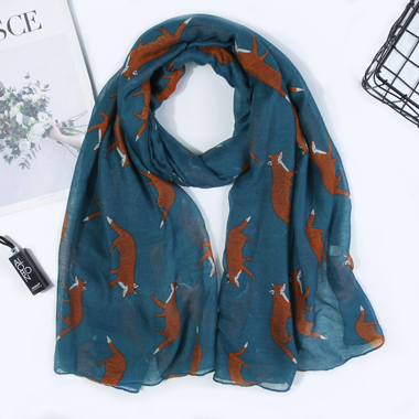 Animal Print Multi Color Voile Scarf