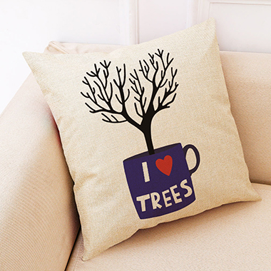 1pc 45 X 45cm Tree Print Pillow Cover Without Filler